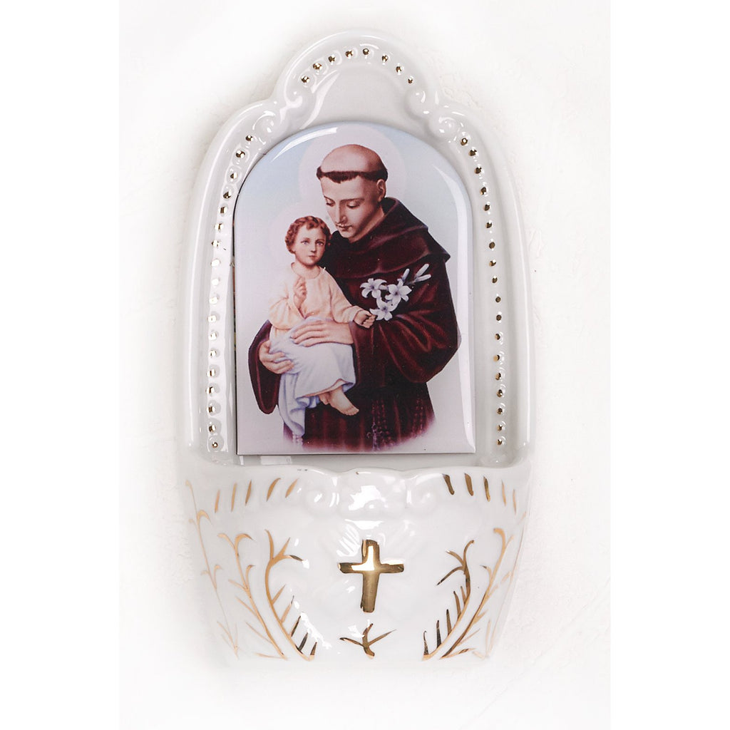 Porcelain holy water font- St. Anthony.