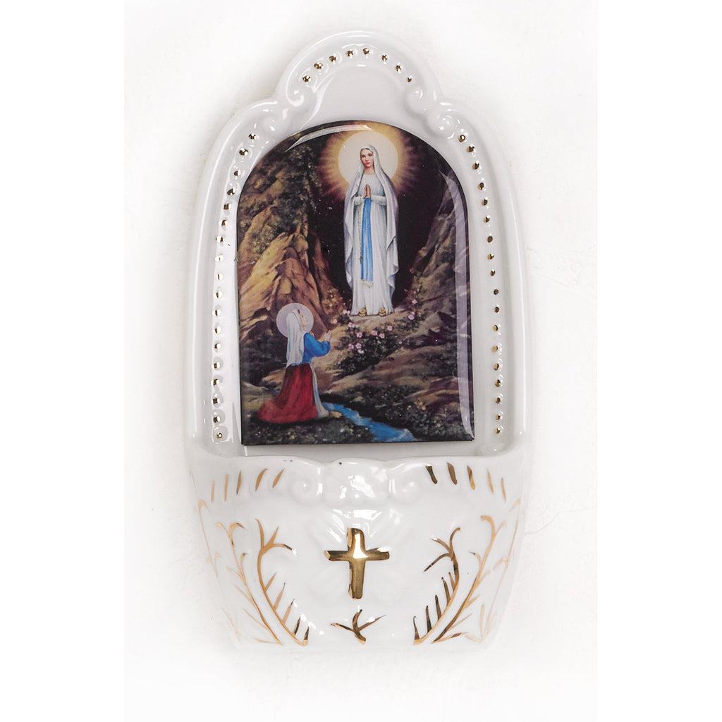 Porcelain holy water font- Lady of Lourdes