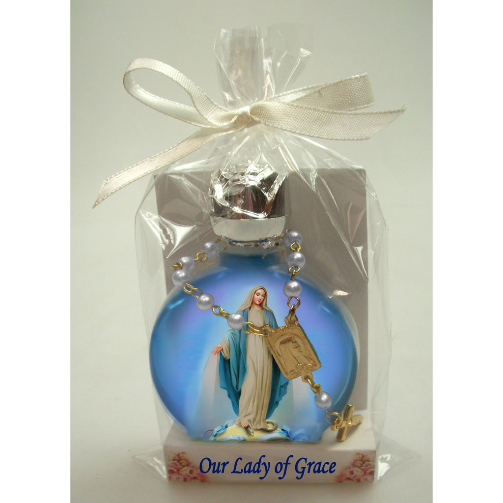 Lady of Grace Stained Glass Bottle with Decade Rosary Combo