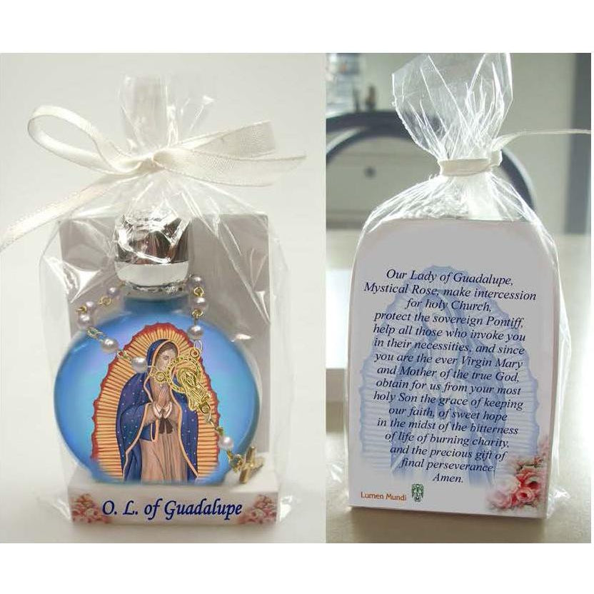 Lady of Guadalupe Stained Glass Bottle with Decade Rosary Combo