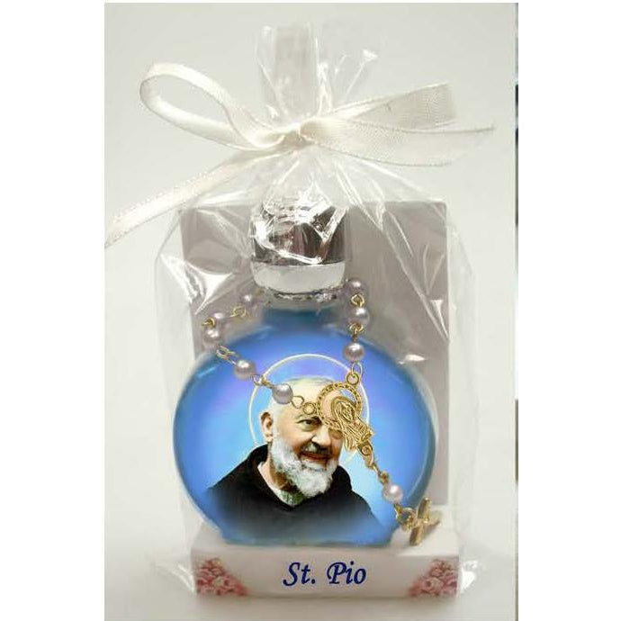 Saint Pio Stained Glass Bottle with Decade Rosary Combo