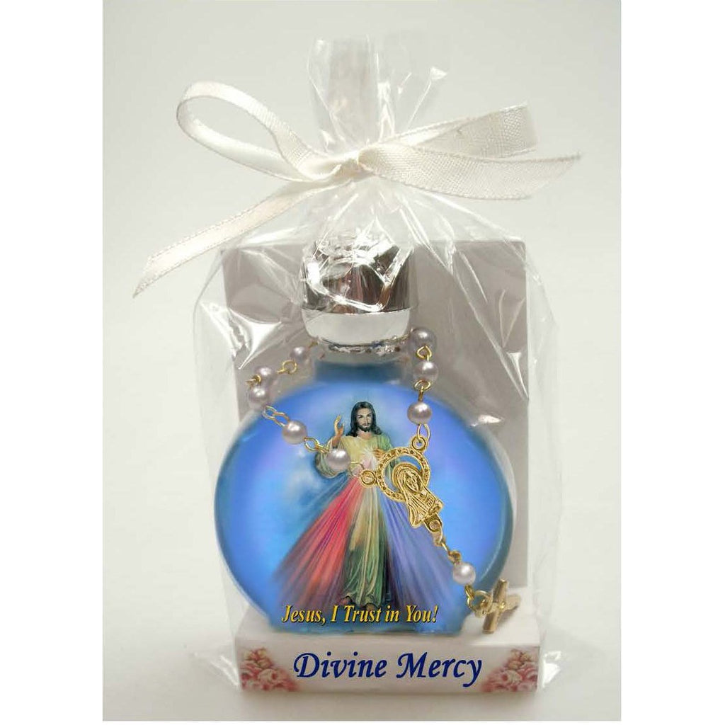 Divine Mercy Stained Glass Bottle with Decade Rosary Combo