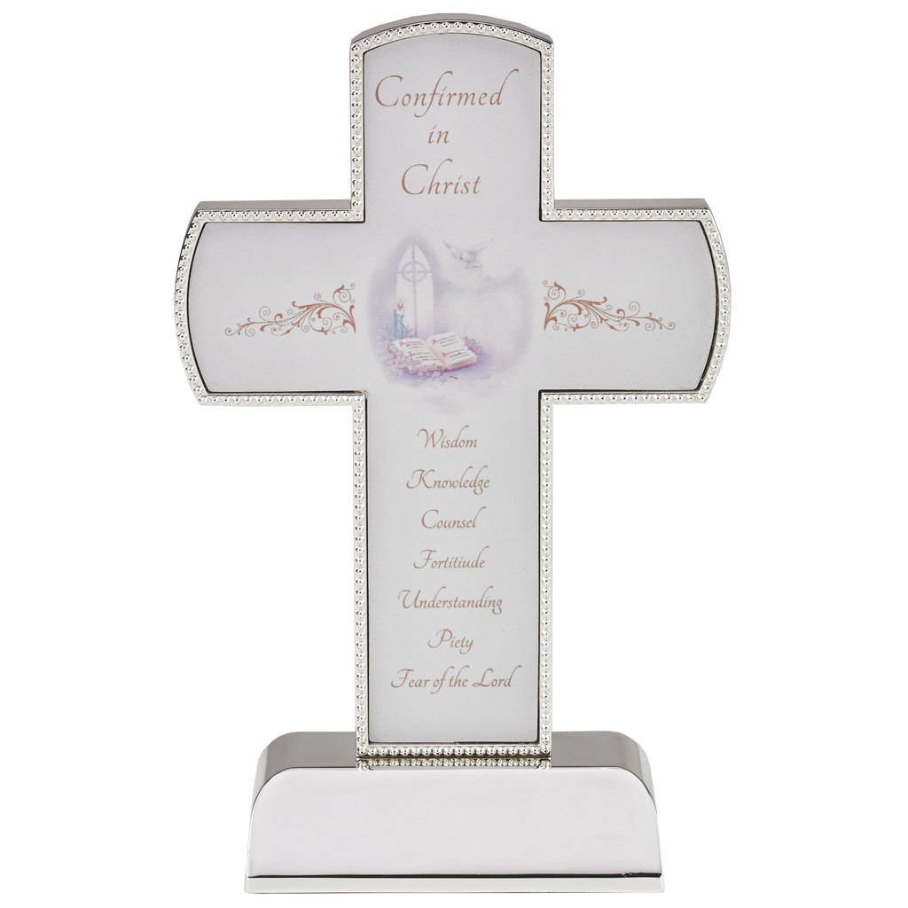6 Inch Premium Silver Tone Confirmation Cross On Base