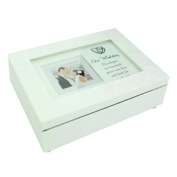 "Our Wedding Matte White Music Box (plays ""Waltz of the Flowers"")"