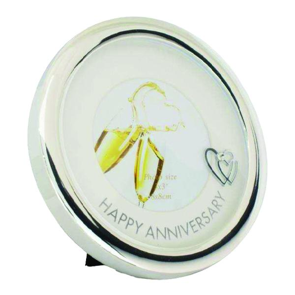 Happy Anniversary Round Silver-plated Picture Frame