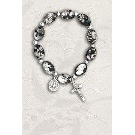 14 mm Black Oval Murano Glass Rosary Bracelet - Pack of 4