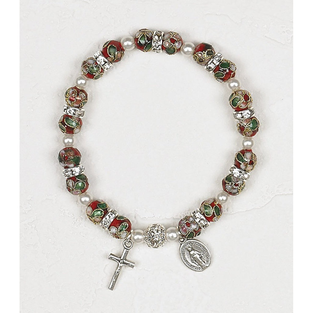 Red Cloisonne Saint Stretch Bracelets with Saintrass Crystals