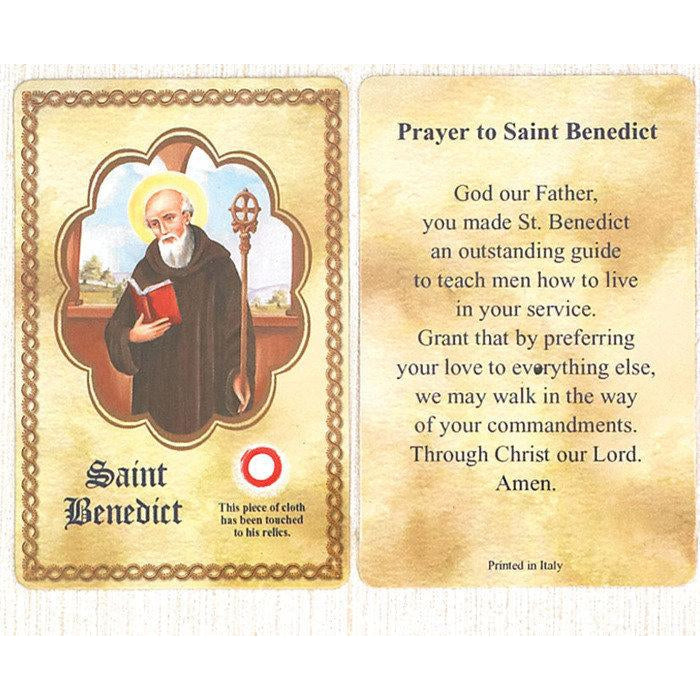 Relic Card Saint Benedict - Pack of 25