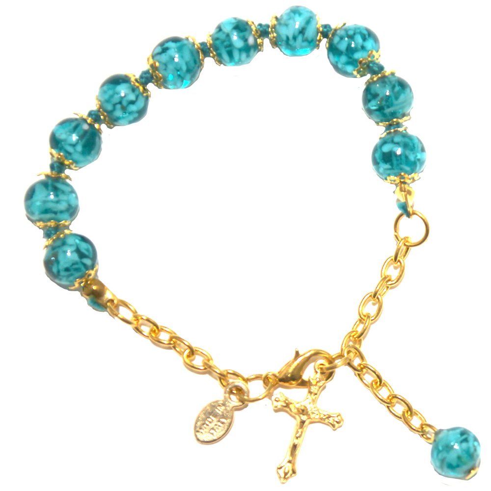 Marine Blue Genuine Murano Gold Tone Rosary Bracelet with Handknotted Sommerso Beads & Crucifix