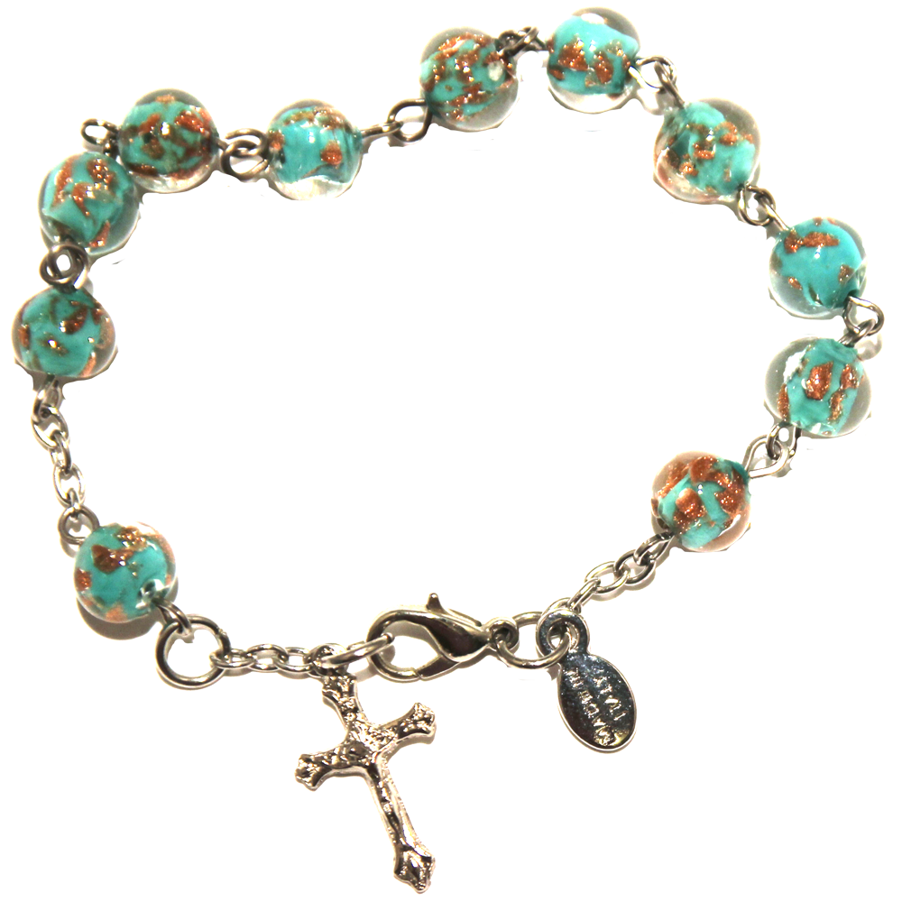 Turquoise Genuine Murano Silver-Tone Rosary Bracelet with Sommerso Beads
