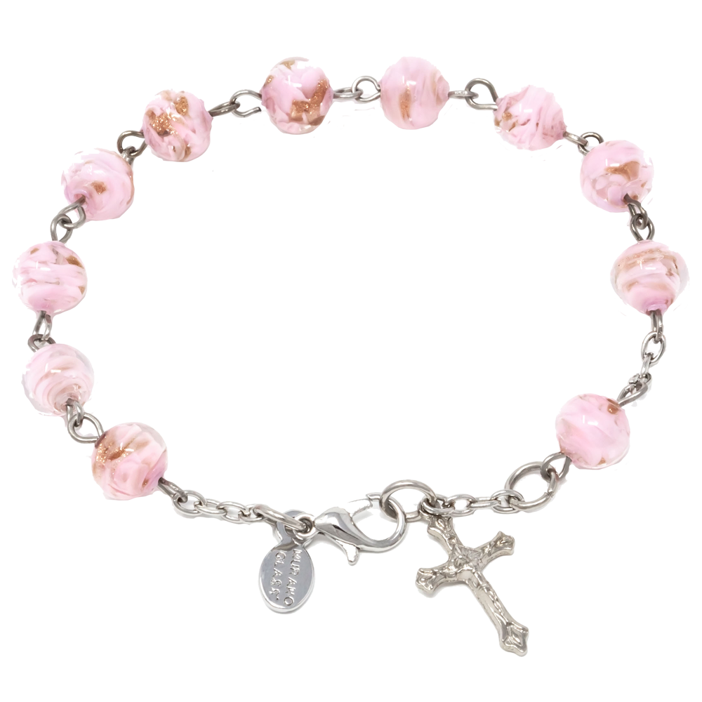 Pink Genuine Murano Silver-Tone Rosary Bracelet with Sommerso Beads