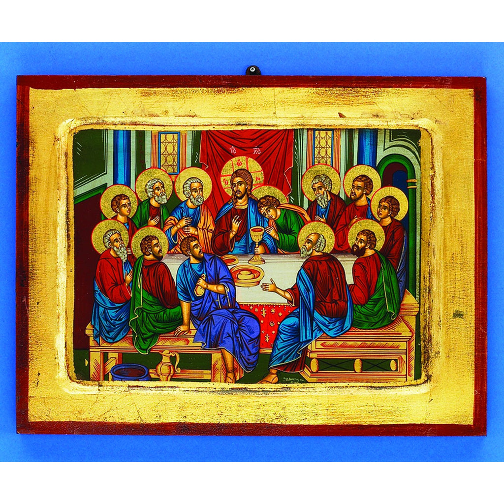 Large Gold Leaf Hand Painted Last Supper. Made in Greece.