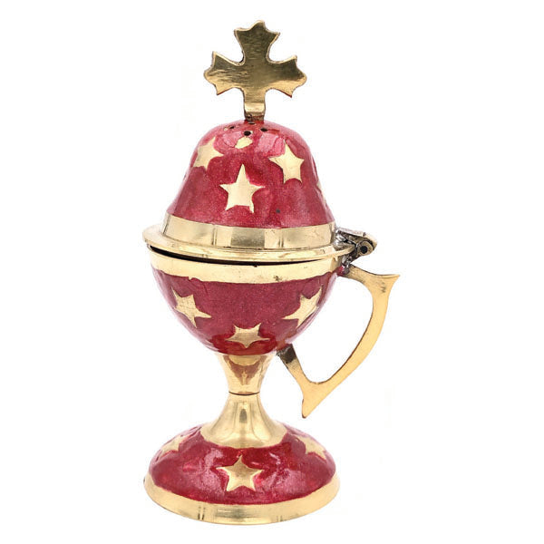 Genuine Brass Incense Burner with Red Enamel - 5 inch