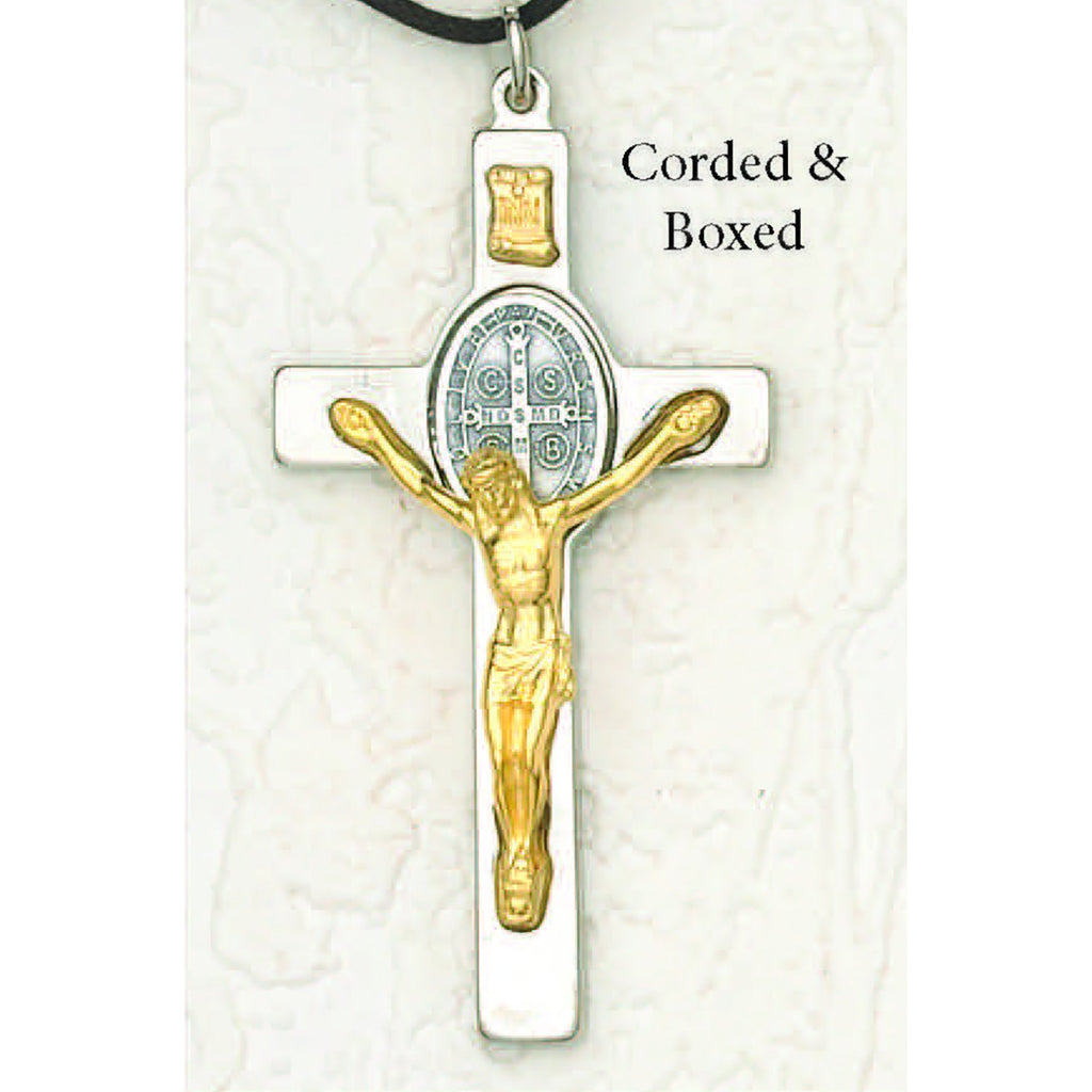 Saint Benedict Silver/Gold Tone Crucifix - Silver Tone Oval Medal