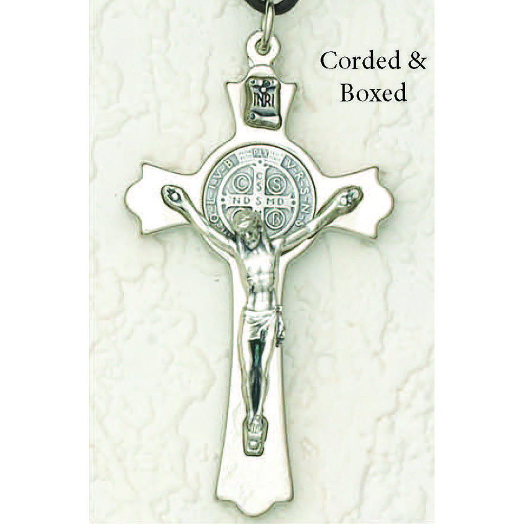 Saint Benedict Silver Tone Crucifix - Silver Tone Medal Corded with Box