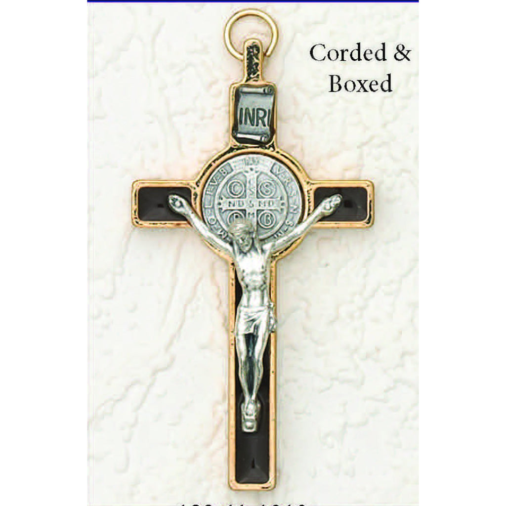 Saint Benedict Silver/Gold Tone With Black Enamel Crucifix - Silver Tone Medal
