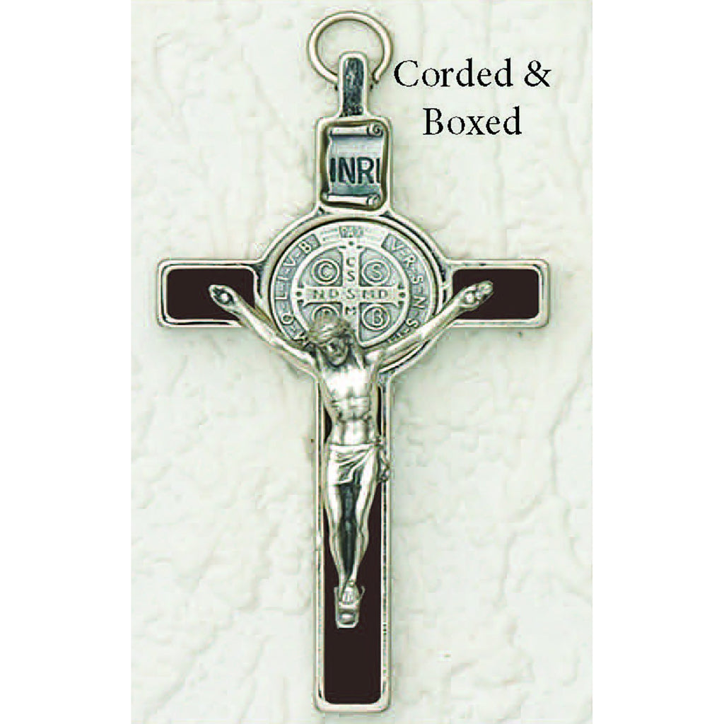 Saint Benedict Brown Enamel Crucifix - Silver Tone Medal - 2 Options