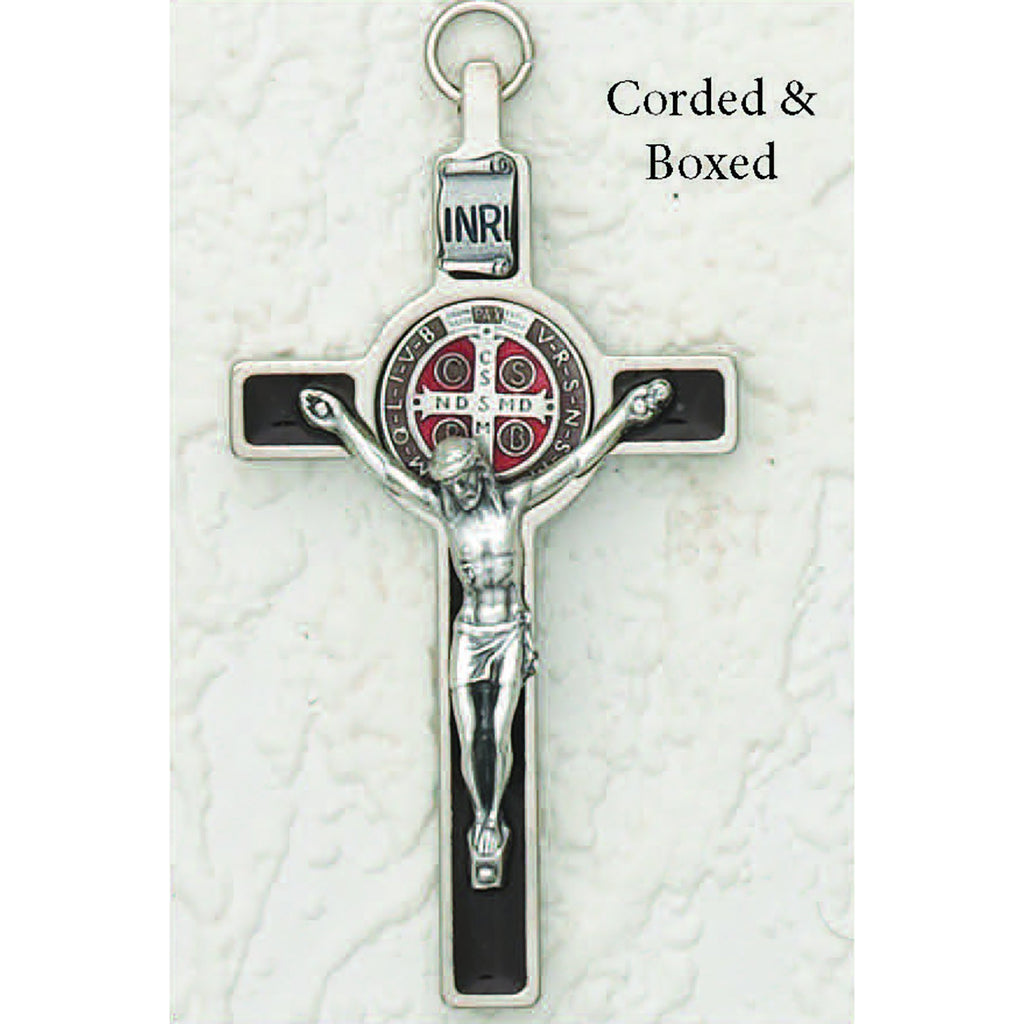 Saint Benedict Brown Enamel Crucifix - Enameled Medal