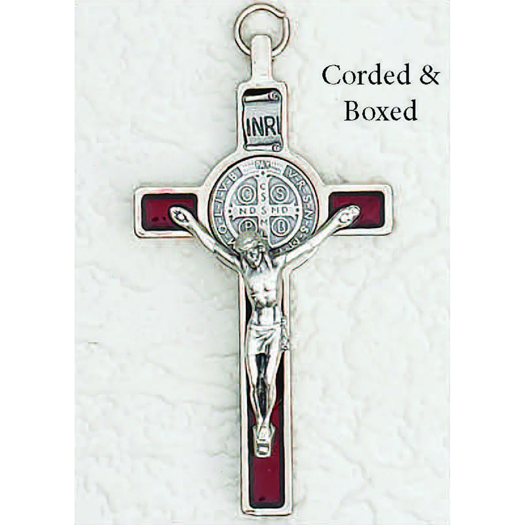 Saint Benedict Red Pearl Enamel Crucifix - Silver Tone Medal