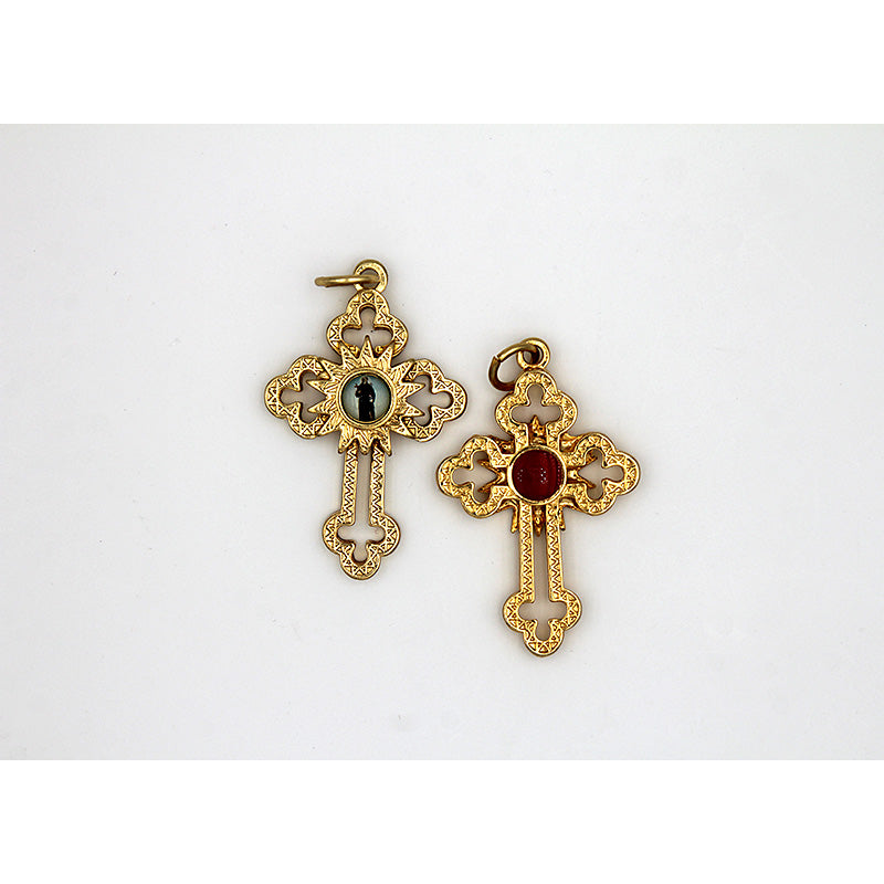Gold Tone Cut Out Relic Cross with St Peregrine Center