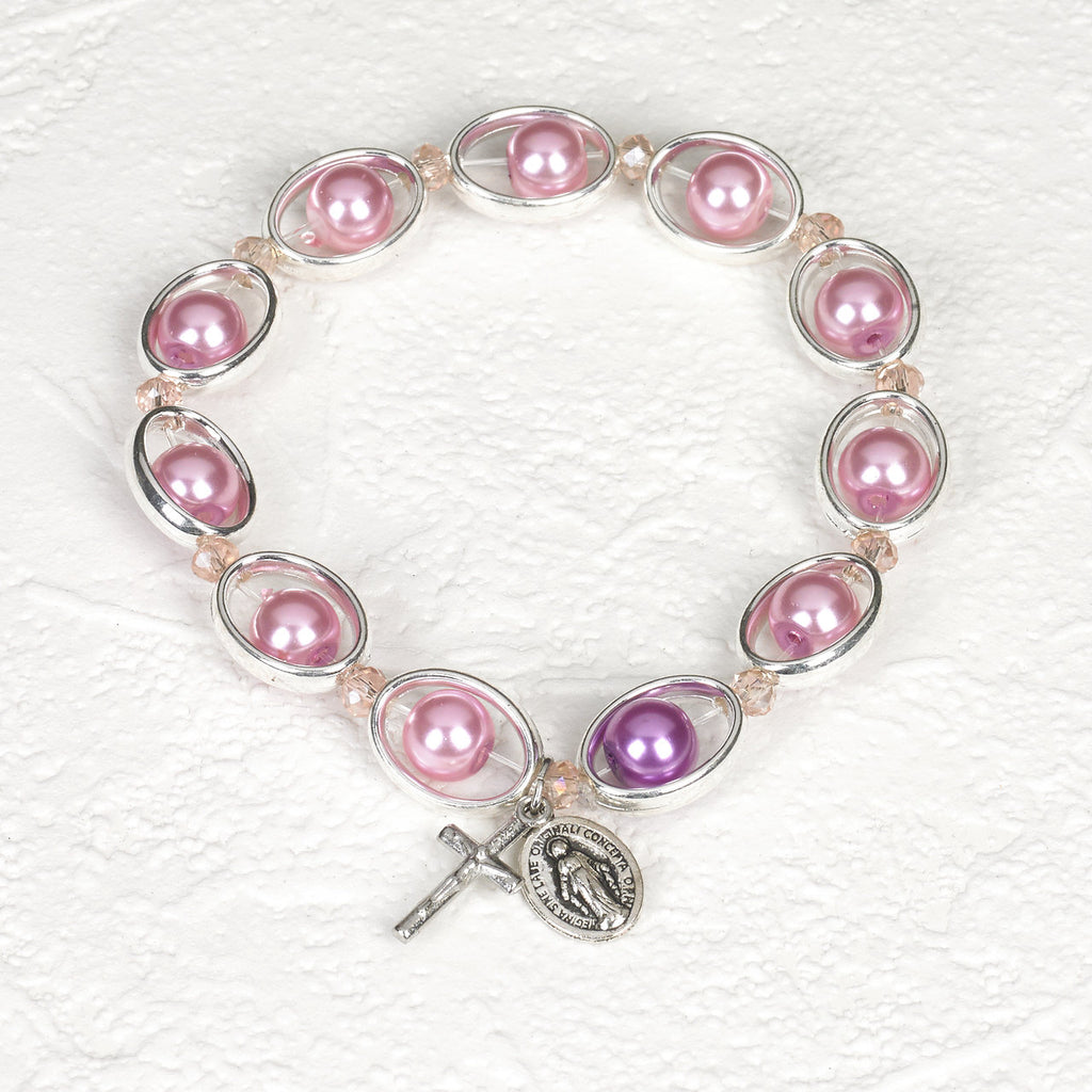 Pink Imitation Pearl in Silver tone Oval Rosary Stretch Bracelet - Pack of 4