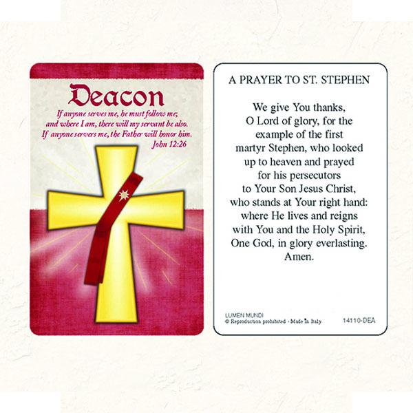 Deacon Laminated prayer card