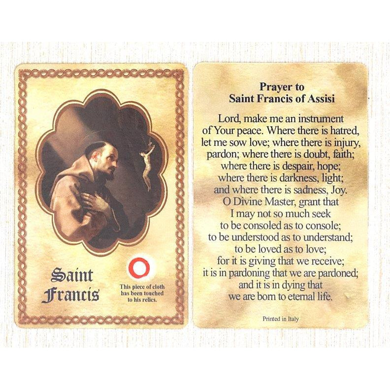 Saint Francis Relic Card - Pack of 25