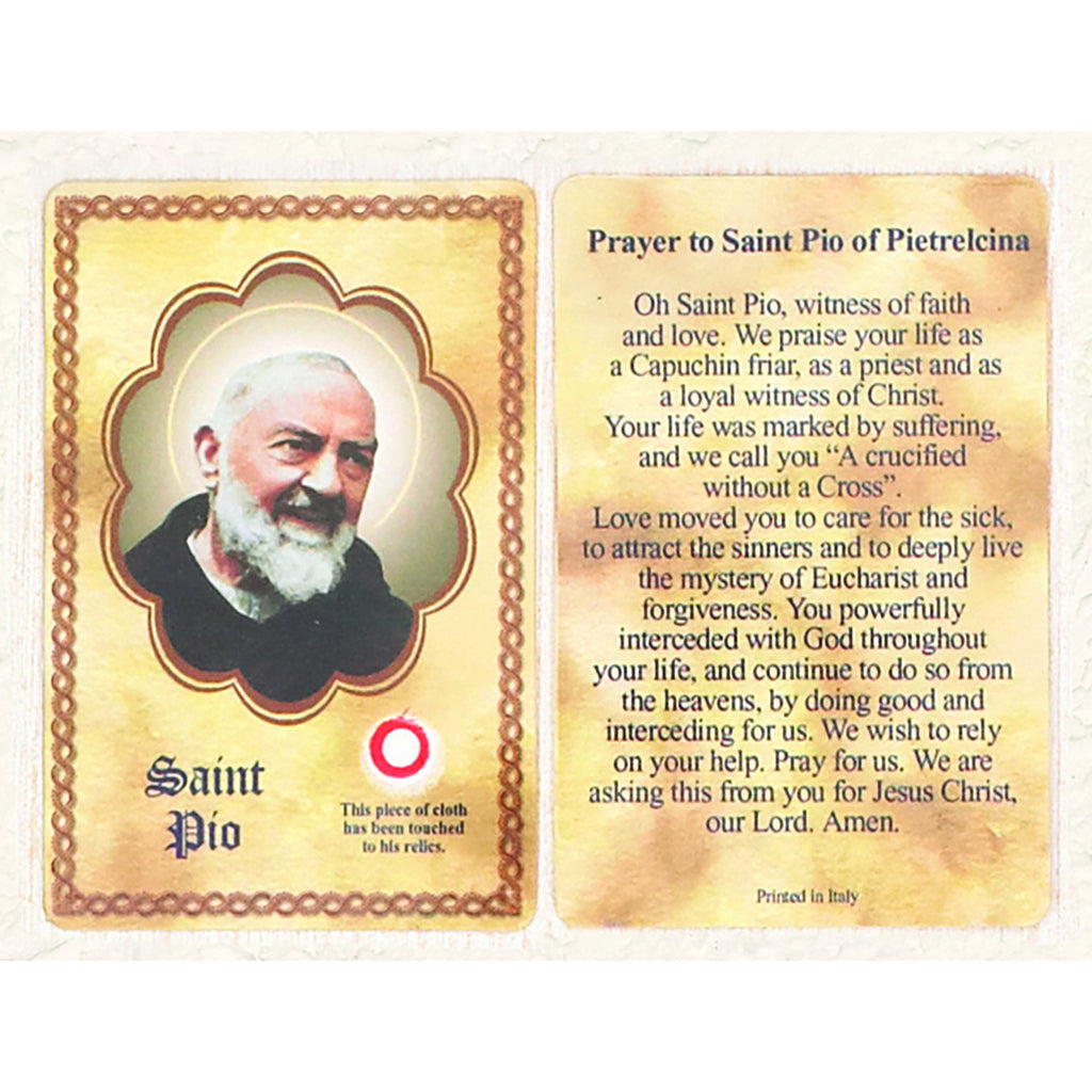 Saint Pio Third Class Relic Card - Pack of 25