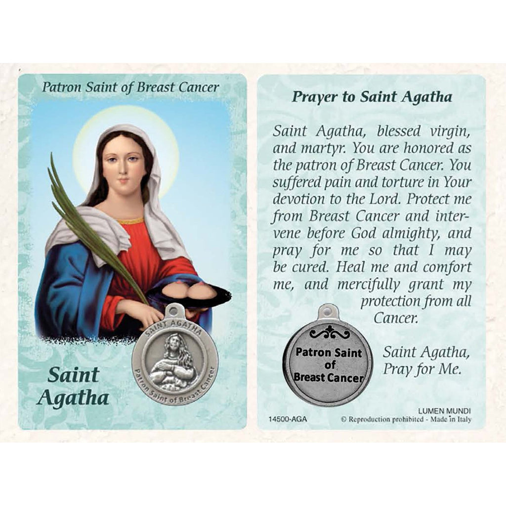 Healing Saint - St. Agatha Card with Medal