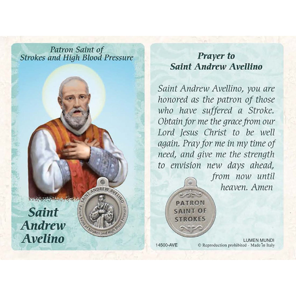 Healing Saint - St. Andrew Avelino Card with Medal