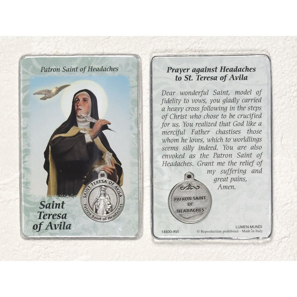 Healing Saint - St. Teresa of Avila Card with Medal