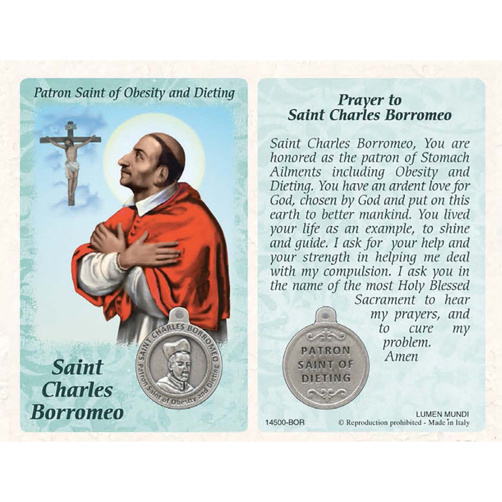 St. Charles Borromeo  Prayer Card with Medal - Healing Saint for Obesity & Dieting