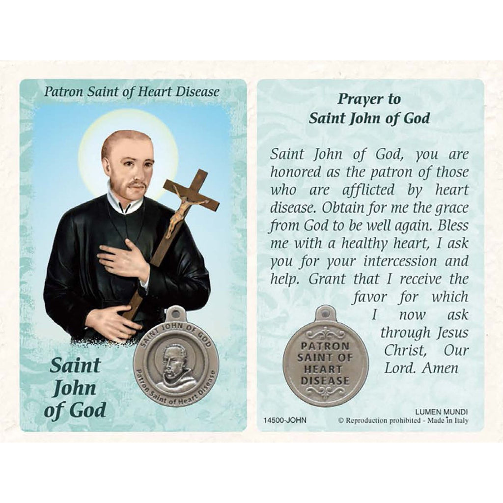 Healing Saint - St John of God Card with Medal