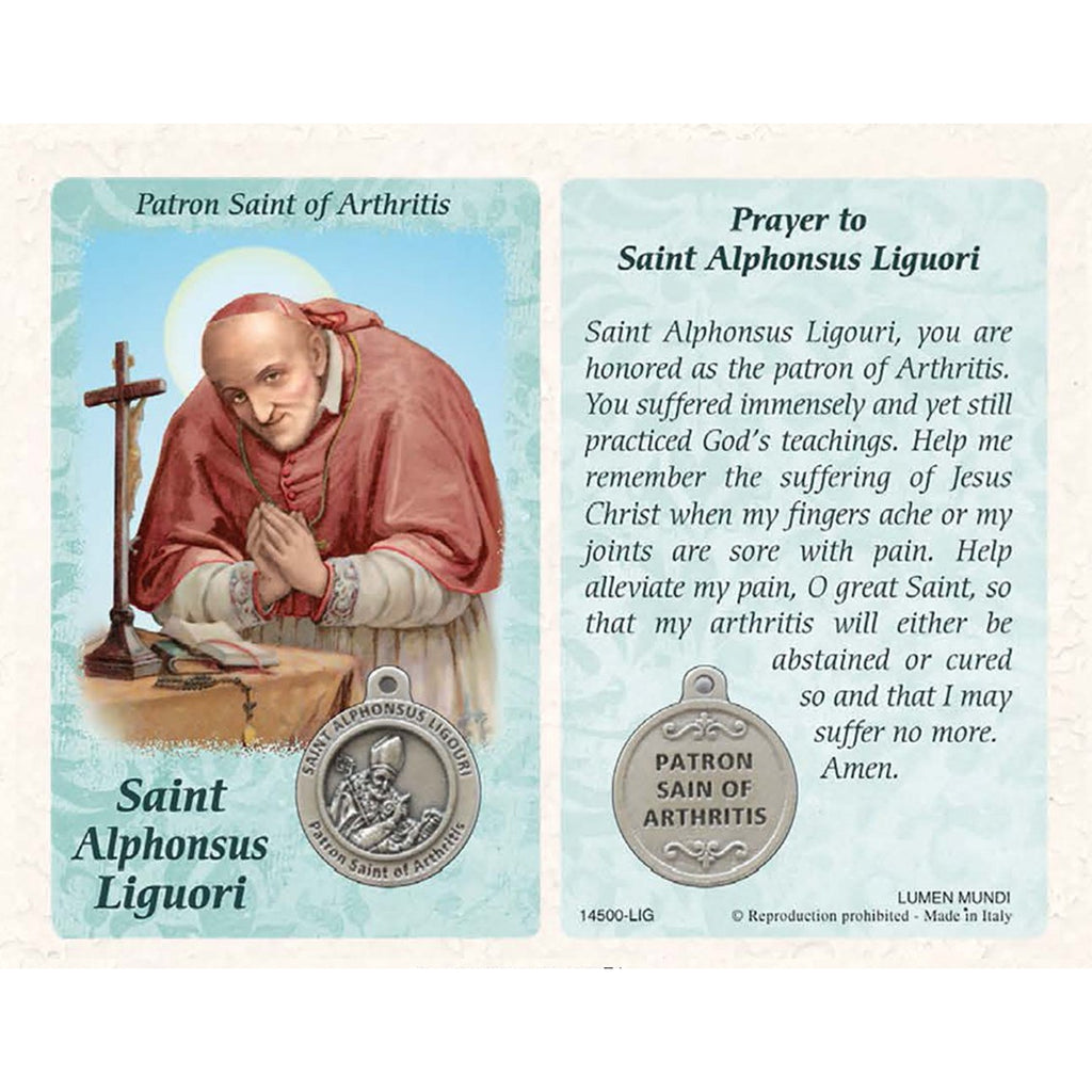 Healing Saint - St Alphonsus Ligouri Card with Medal