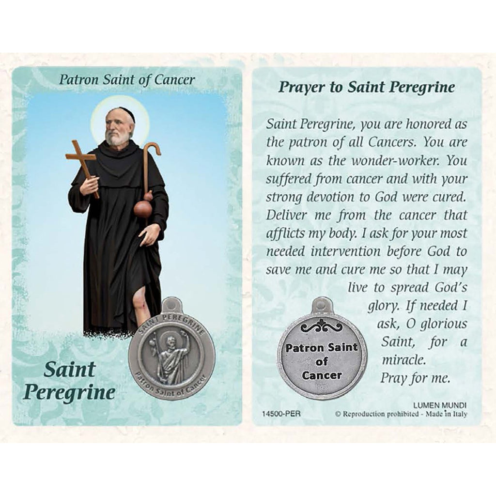 Healing Saints Prayer Card with Medal- Saint Peregrine- Patron Saint of Cancer - Pack of 25