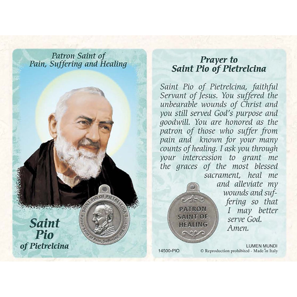 Healing Saints Prayer Card with Medal - Saint Pio - Pack of 25