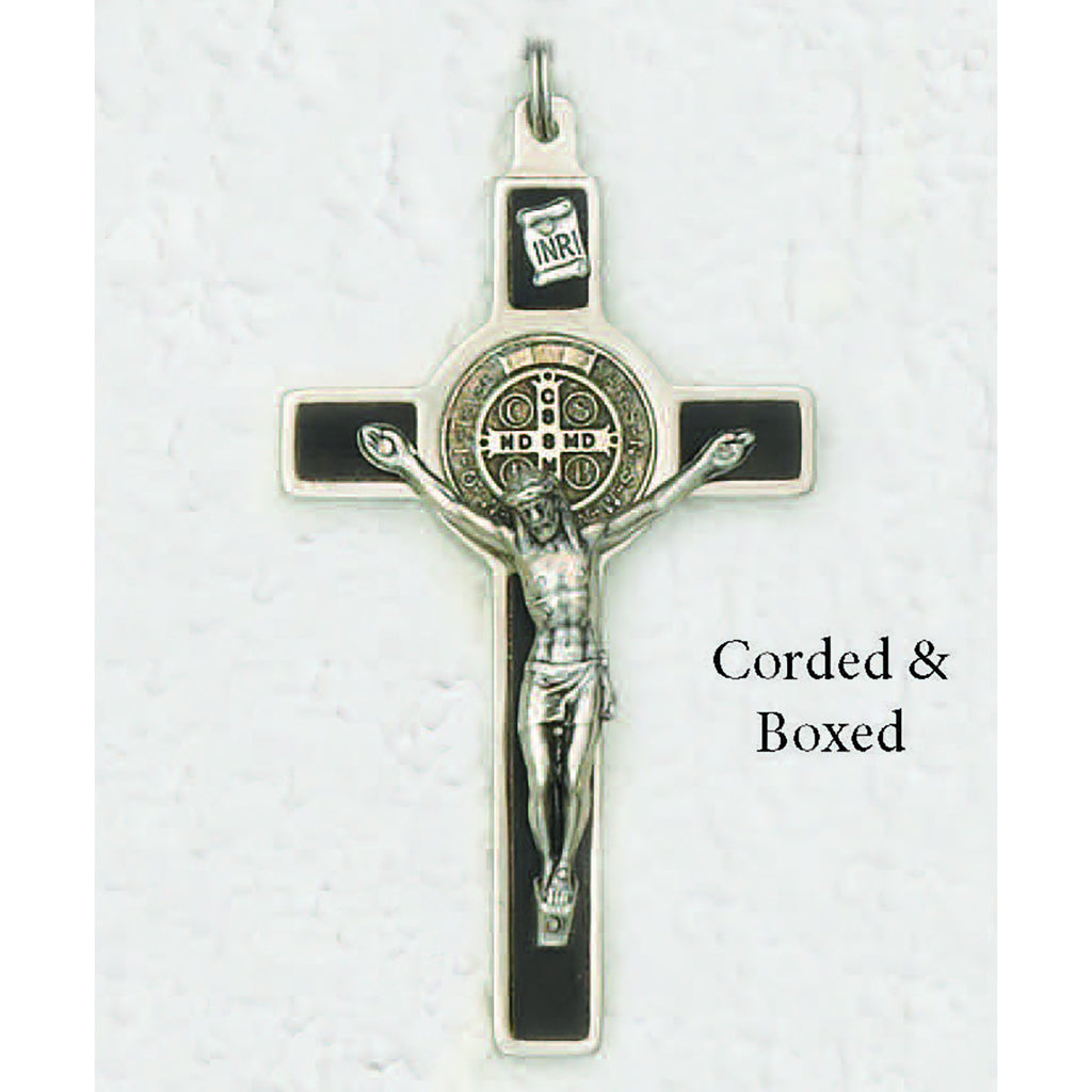 Saint Benedict Silver Tone Wood Inlay Cross - Silver Tone Medal