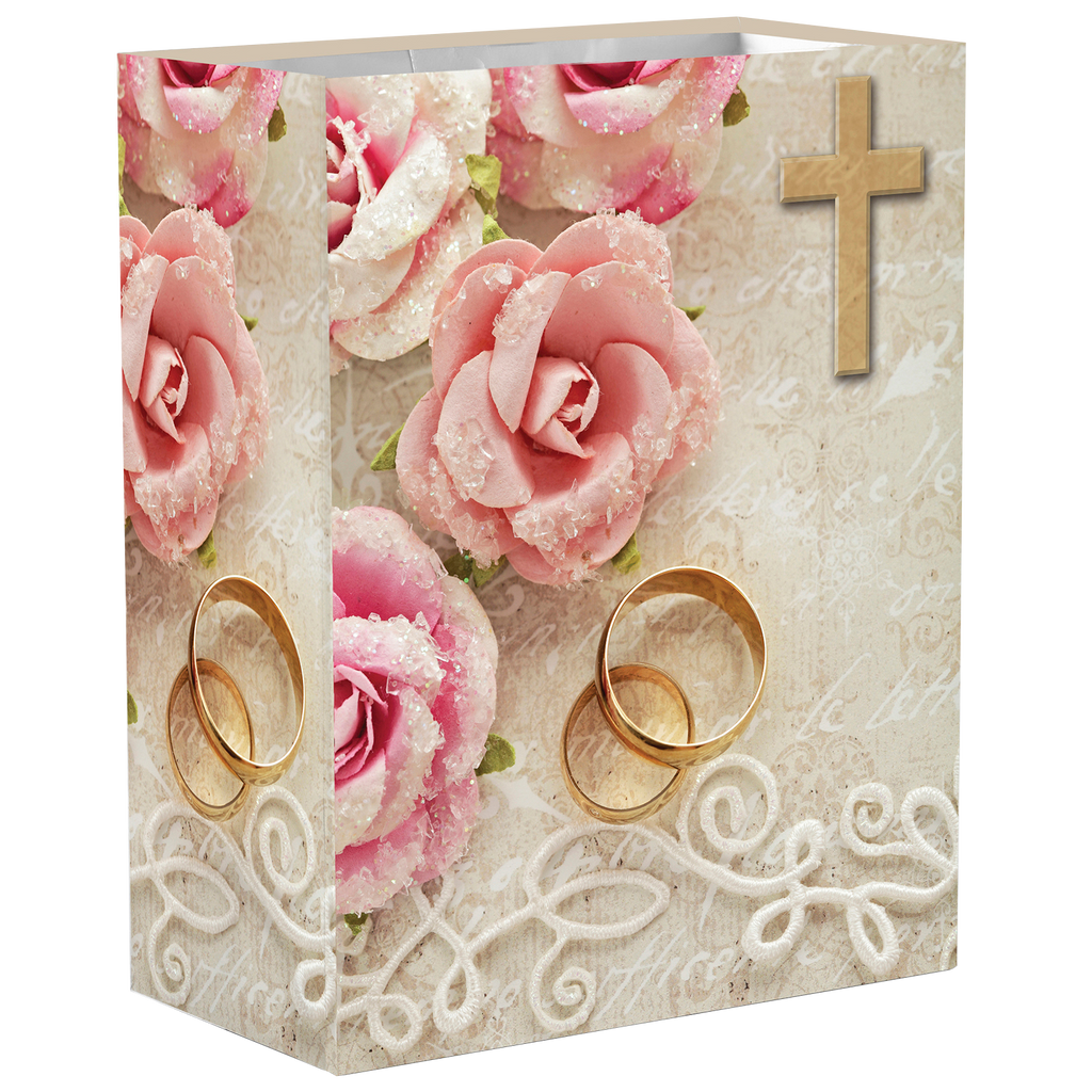 Large 9-3/4 Inch Wedding/Anniversary Gift Bag With Tissue Paper
