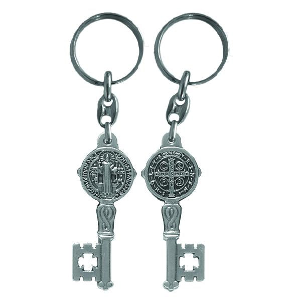 Silver-tone Key Shaped Key Ring - Saint Benedict
