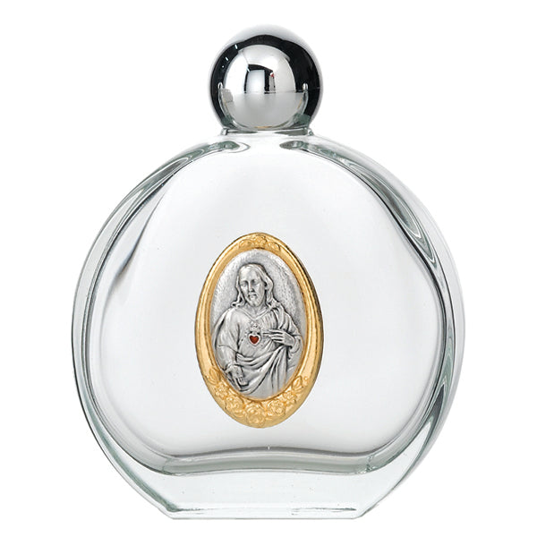 Large 4 oz Sacred Heart of Jesus Glass Holy Water Bottle with Two Tone Medal
