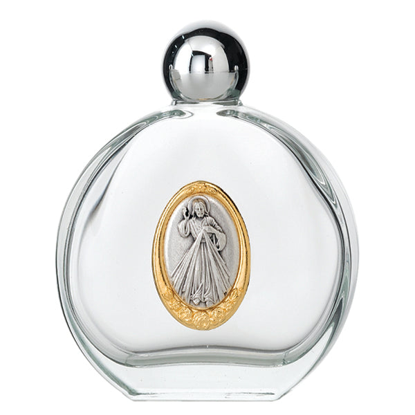 Large 4 oz Divine Mercy Glass Holy Water Bottle with Two Tone Medal