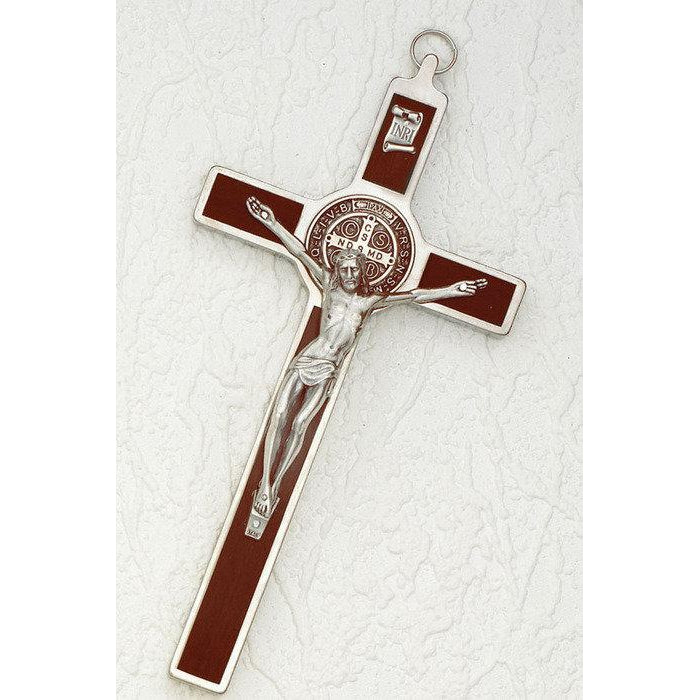 Saint Benedict Wood Inlay Cross - Silver Tone Medal