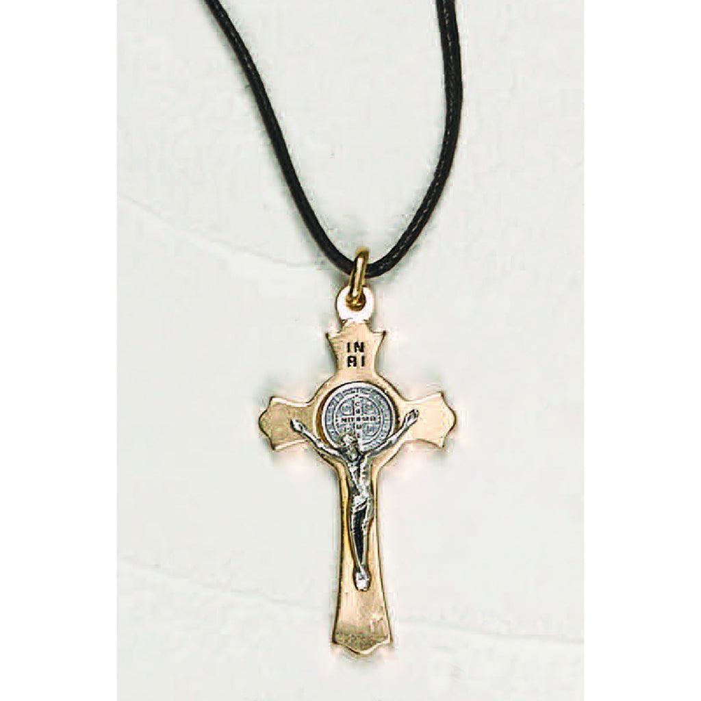 Saint Benedict Gold Tone Clover Crucifix Corded and Boxed