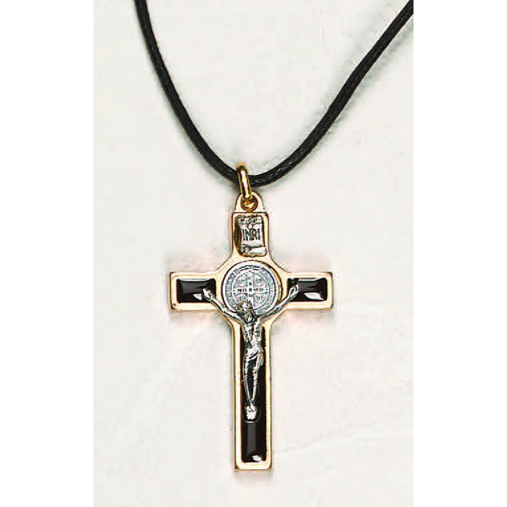 Saint Benedict Gold Tone Brown Enamel Classic Cross