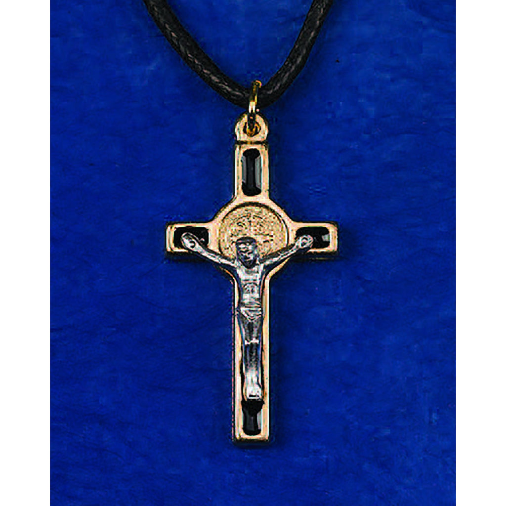 Saint Benedict Gold Tone Enameled Crosses - 10 Options