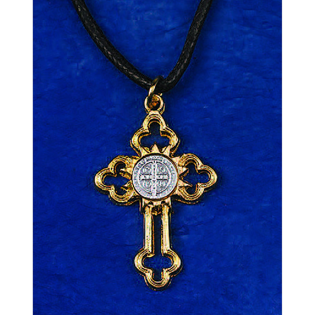 Saint Benedict Gold Tone Cross with Silver Tone Medal - 2 Options