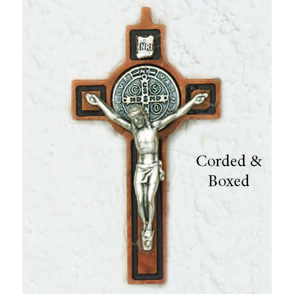 Saint Benedict Wood Cross With  Black Carving