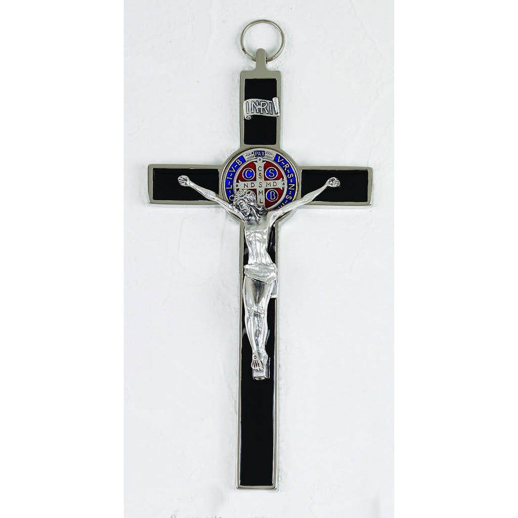 Saint Benedict Black Enamel Cross - Enameled Medal