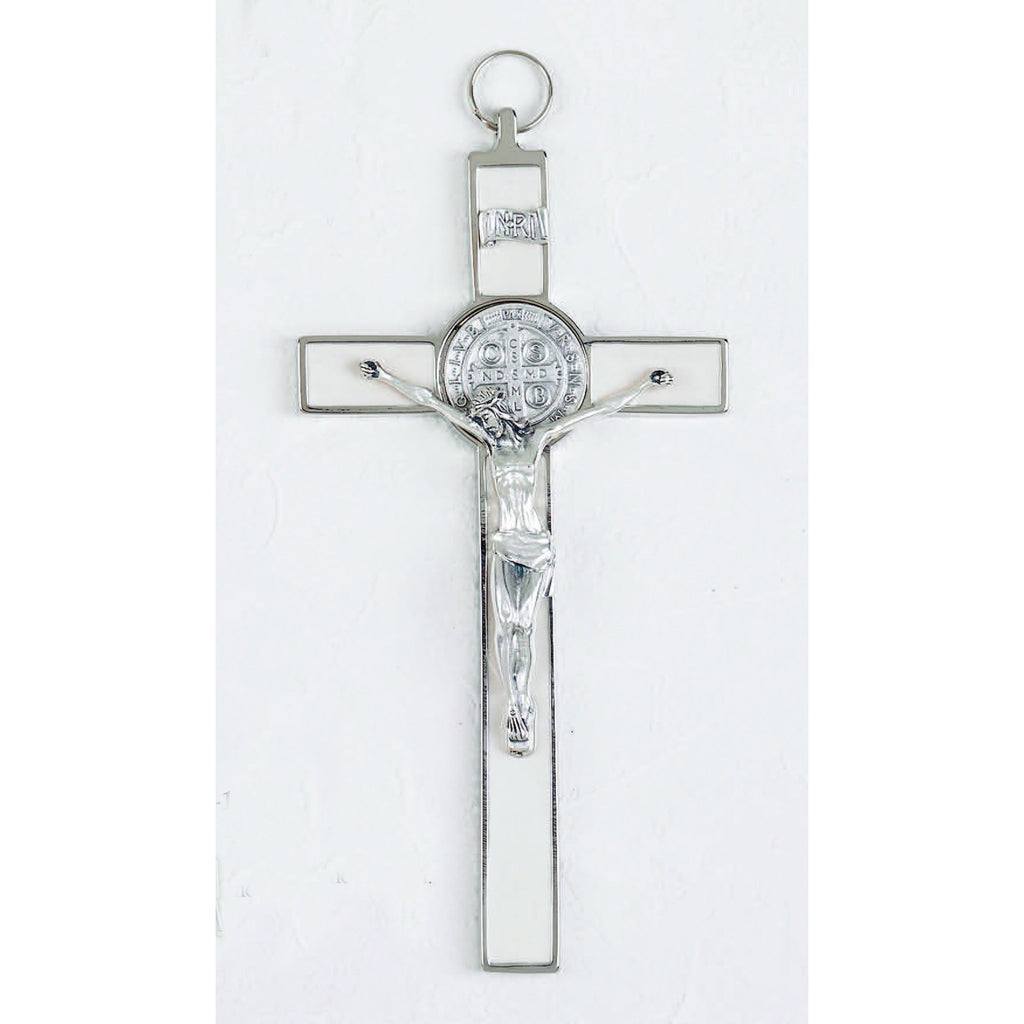 Saint Benedict White Enamel Cross - Enameled Medal