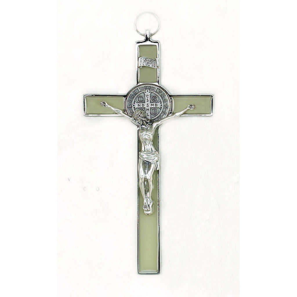 Saint Benedict Glow in the Dark Enameled Cross - Silver Tone Medal